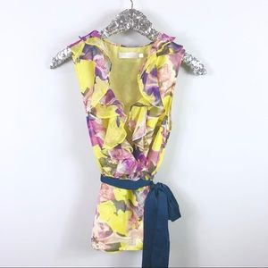 MM Couture Yellow Ruffle Wrap Top Floral SZ Med